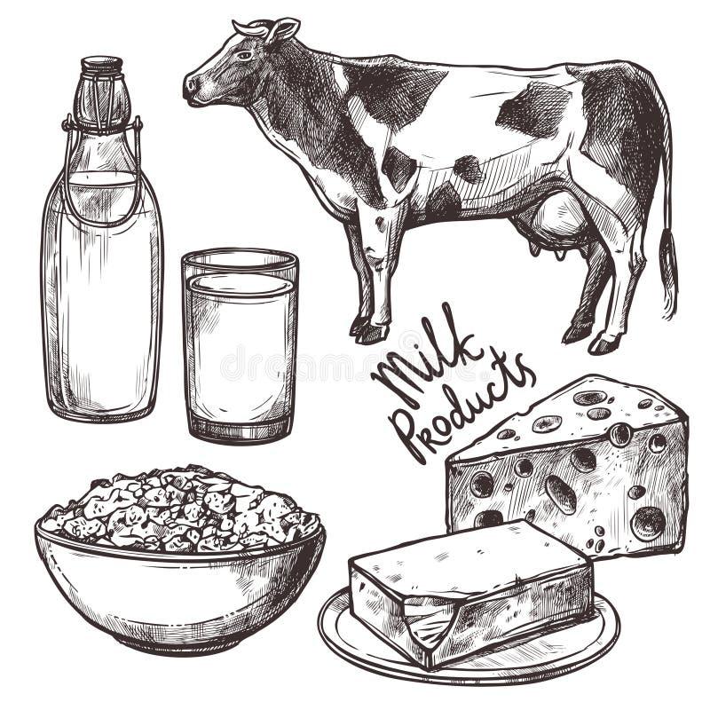 Productos lácteos del bosquejo fijados stock de ilustración
