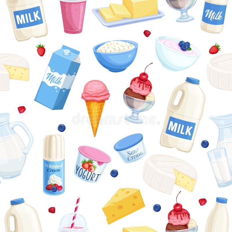 Productos lácteos del modelo inconsútil libre illustration