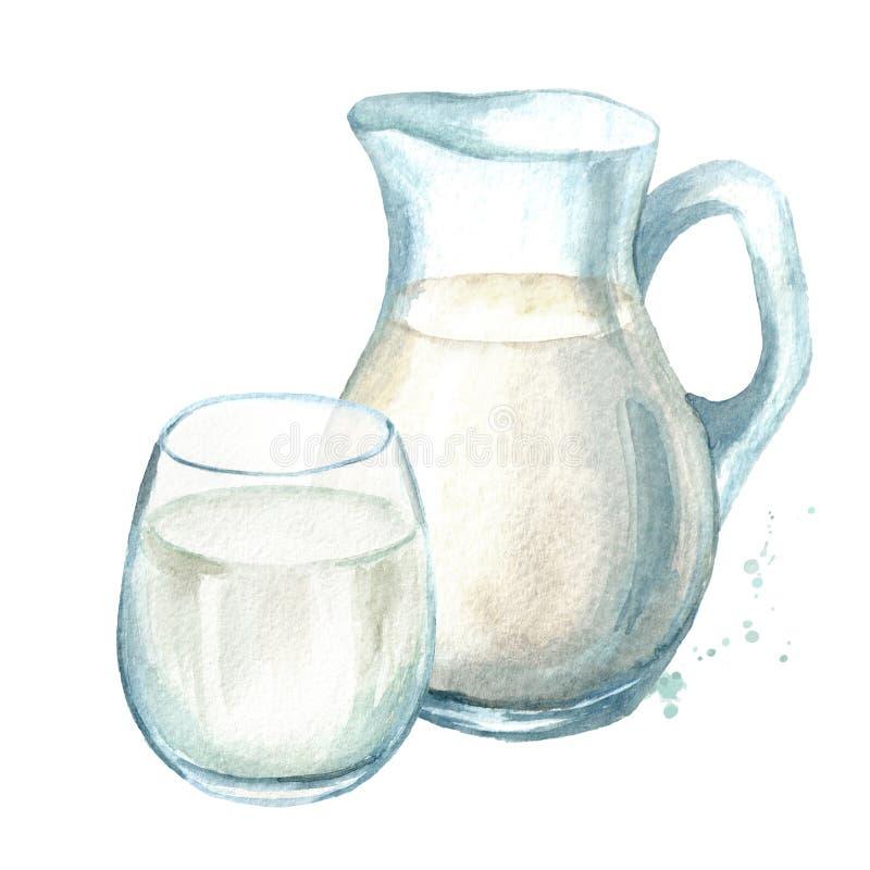Productos lácteos Jarro con leche y vidrio Ejemplo dibujado mano de la acuarela aislado en el fondo blanco stock de ilustración