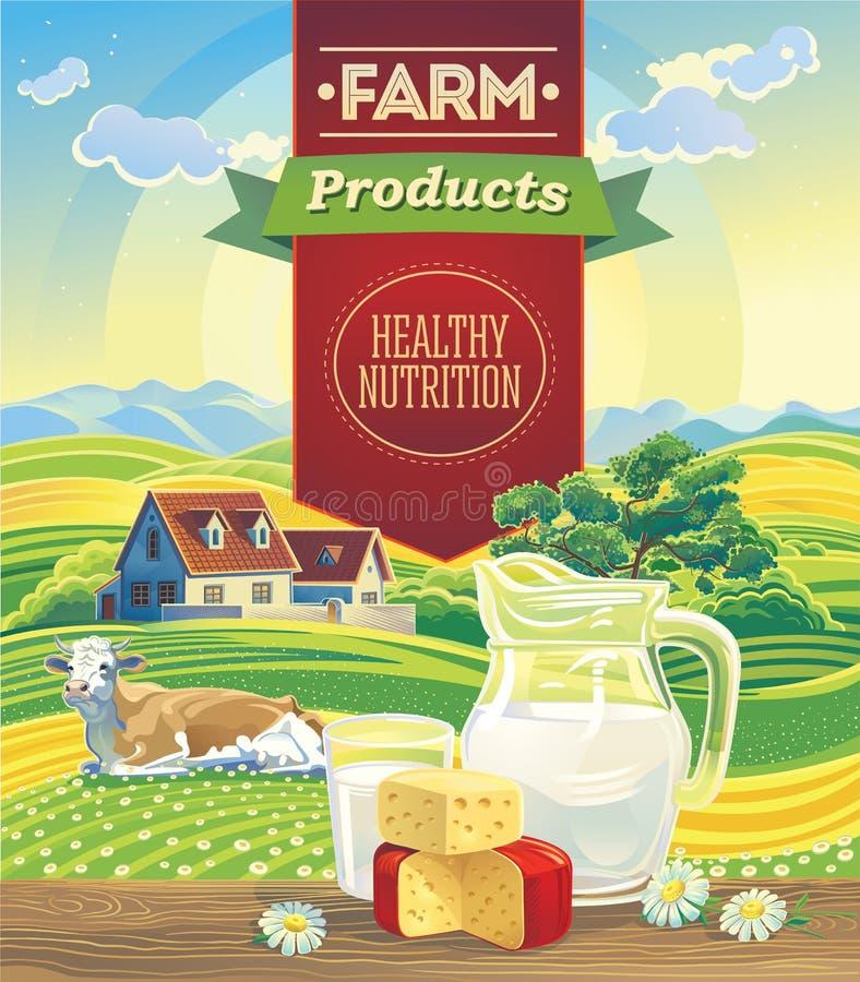 Productos lácteos y paisaje con la vaca stock de ilustración