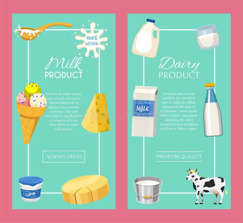 Productos l?cteos o ejemplo del vector del sistema de la leche Fresco, calidad, sistema del alimento biológico de las banderas, c libre illustration