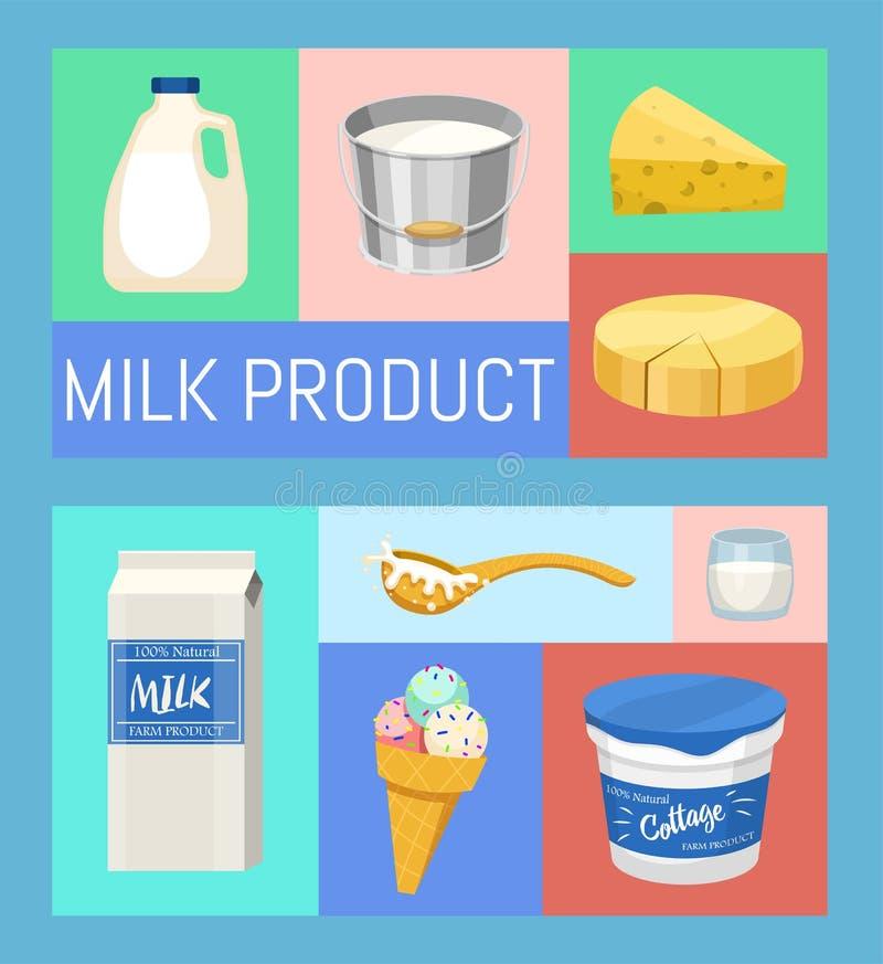 Productos l?cteos o ejemplo del vector del sistema de la leche Fresco, calidad, sistema del alimento biol?gico de banderas Grande stock de ilustración