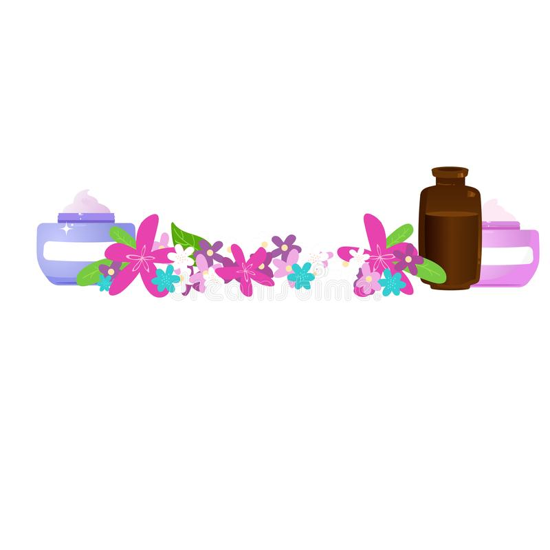 Productos naturales con aceite esencial y flores ilustración del vector