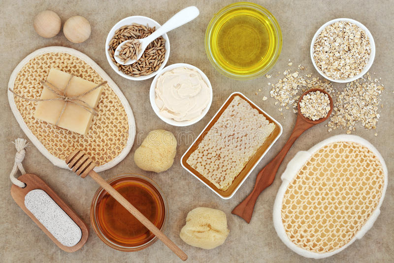 Productos naturales para la atención sanitaria de la piel fotografía de archivo libre de regalías