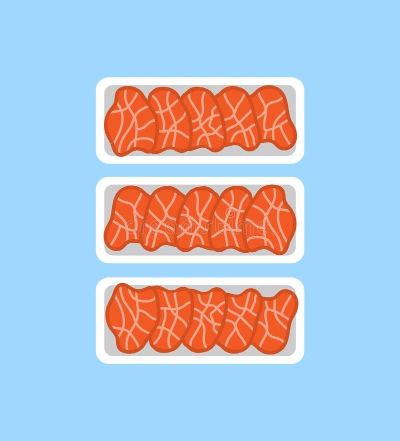 Productos orgánicos frescos de los filetes de la carne en bandeja plástica stock de ilustración