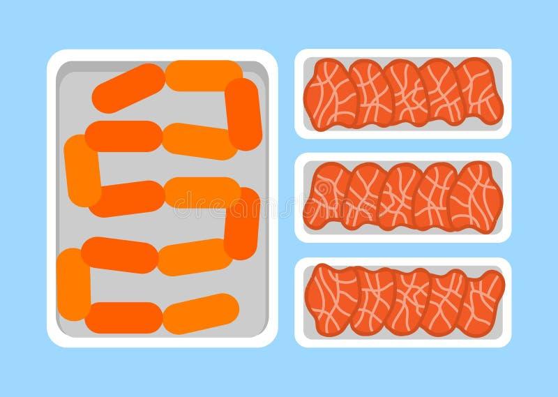 Productos org?nicos frescos de los filetes de la carne en bandeja pl?stica libre illustration