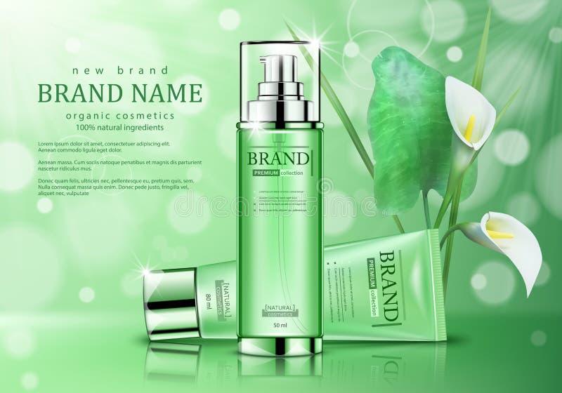 Productos para el cuidado de la piel orgánicos de los cosméticos Cartel realista del anuncio con las flores en fondo verde stock de ilustración