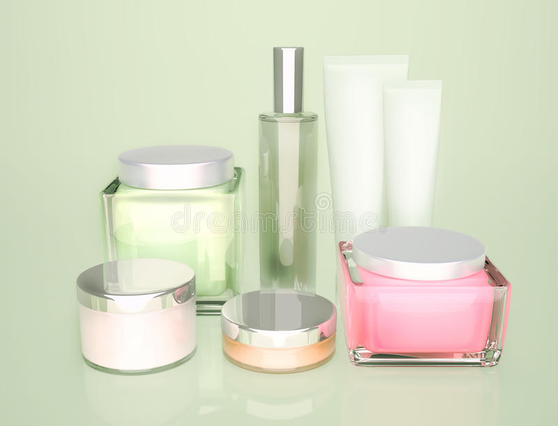 Productos para el cuidado de la piel Una crema de cara, ojos de la crema de piel y un protector labial redondos stock de ilustración