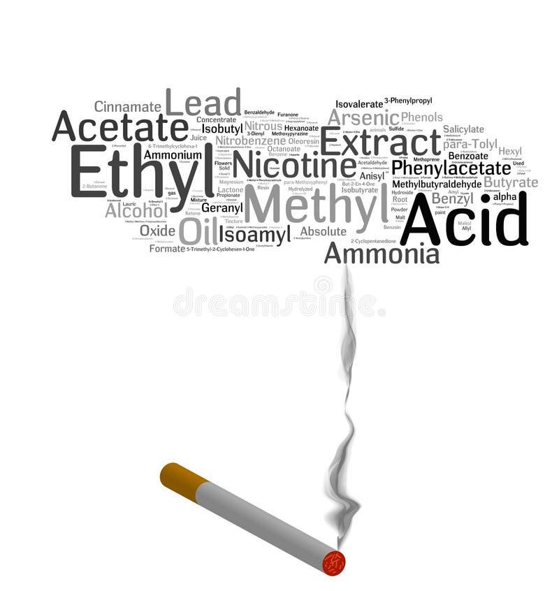 Productos químicos del tabaquismo ilustración del vector
