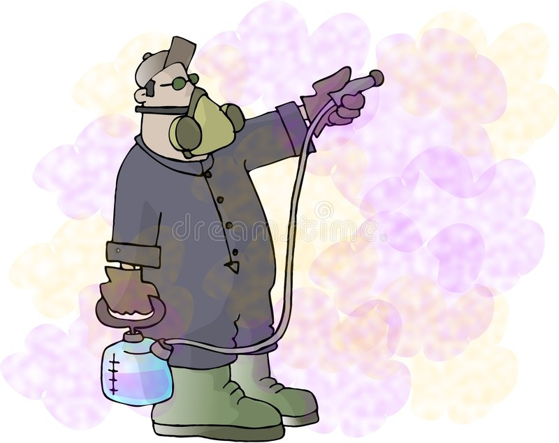 Productos químicos que pintan (con vaporizador) stock de ilustración