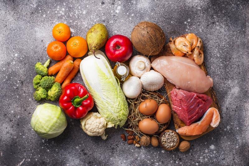 Productos sanos para la dieta del paleo fotos de archivo