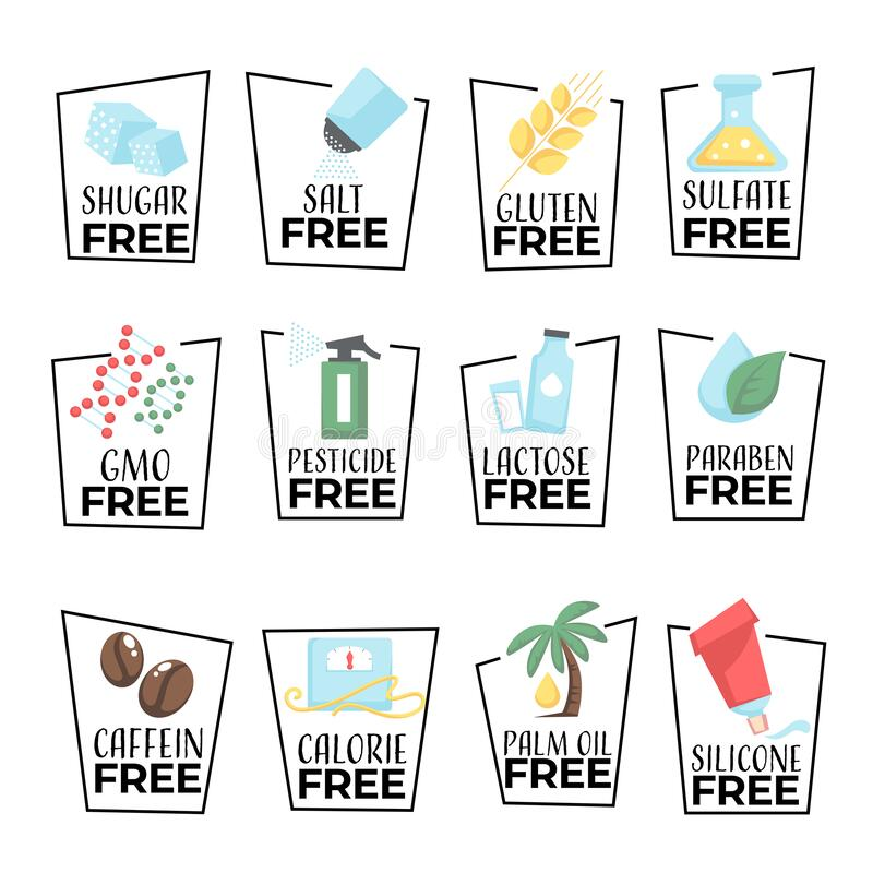 Free Products And Food Labels Isolated Icons, Gmo Or Gluten Free Stock Photography - 173118292
