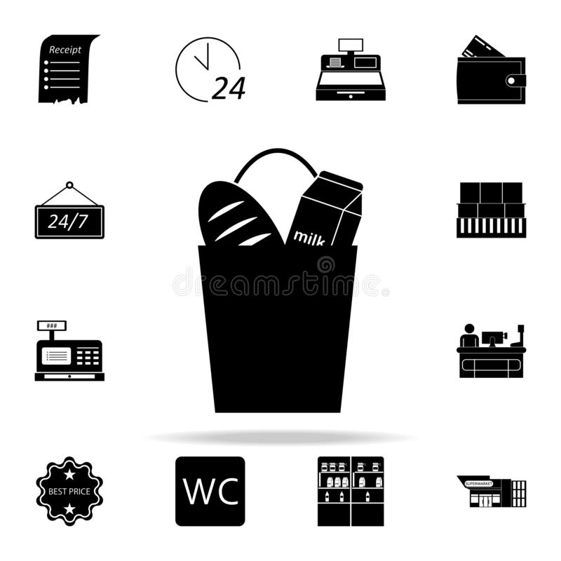 products in a bag icon. market icons universal set for web and mobile vector illustration