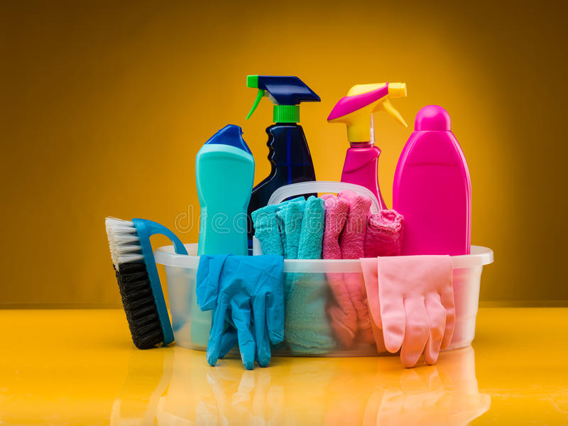 Products for bathroom cleaning royalty free stock image