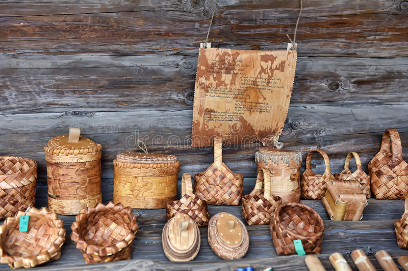 Products from birch bark stock photos