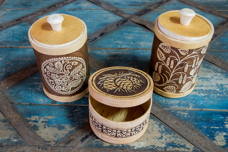 Products from birch bark stock image