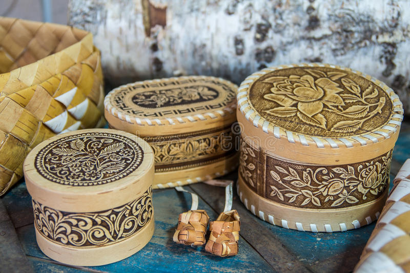 Products from birch bark stock photo