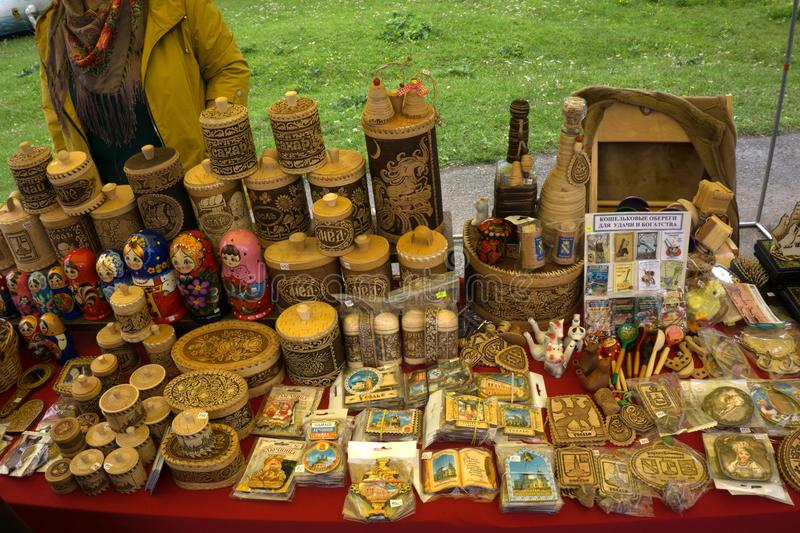 Products from birch bark on the sales counter for sale as souvenirs . stock photo