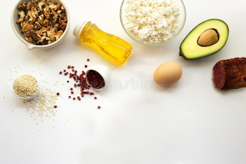 Products that can be eaten with a ketogenic diet., low carb, high good fat. Concept keto diet for health and weight loss. Top view. Copy space for text, flat royalty free stock photos