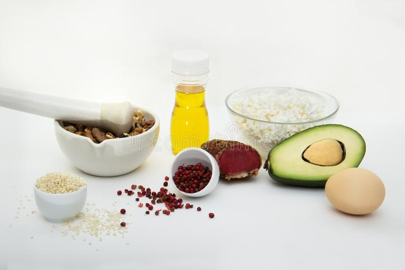 Products that can be eaten with a ketogenic diet., low carb, high good fat. Concept keto diet for health and weight loss. Products that can be eaten with a royalty free stock image