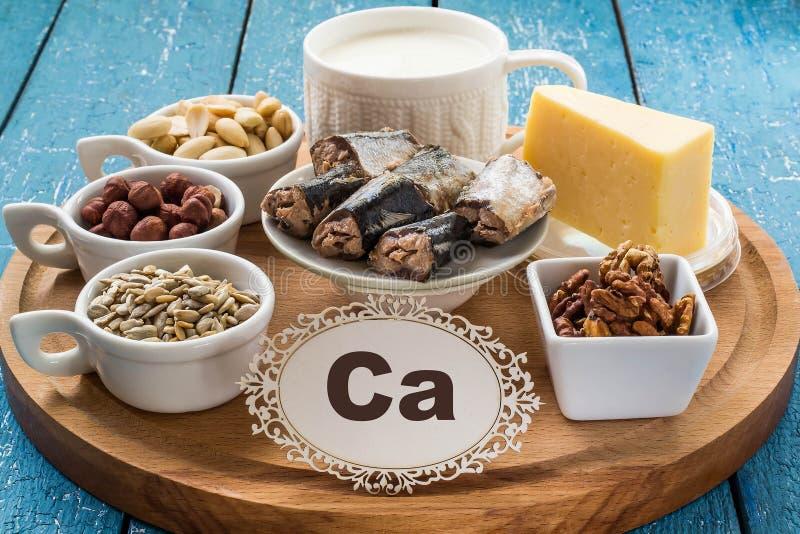 Products containing calcium (Ca) stock photos