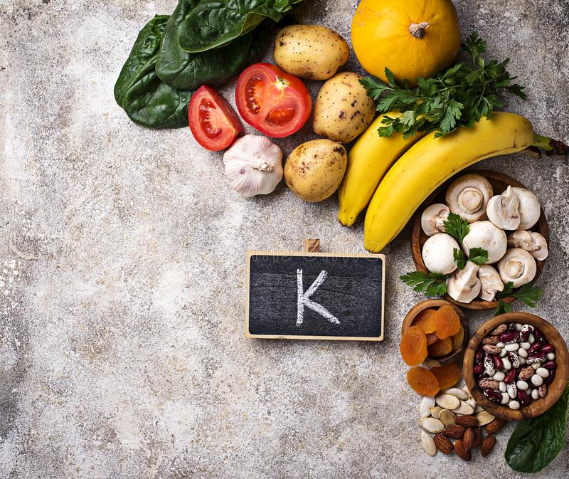 Products containing potassium. Healthy food concept stock photography