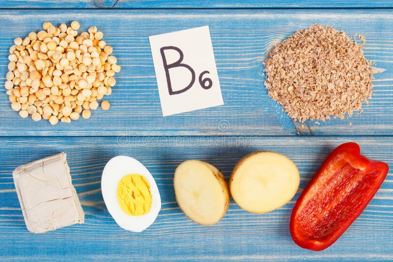 Products containing vitamin B6 and dietary fiber, healthy nutrition. Ingredients containing vitamin B6 and dietary fiber, natural sources of minerals, healthy stock images