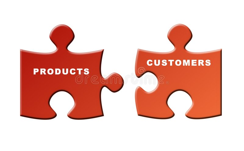 Products and customers vector illustration