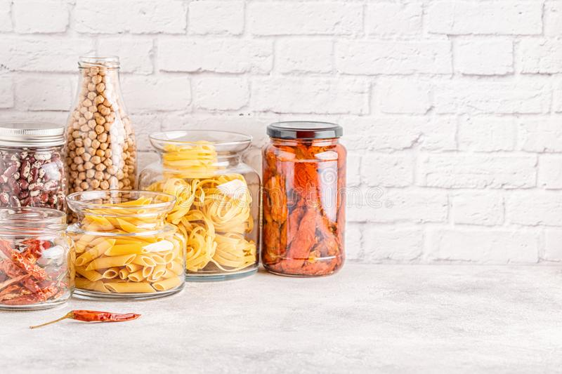 Products in  glassware. Eco friendly food storage. Zero waste concept royalty free stock images