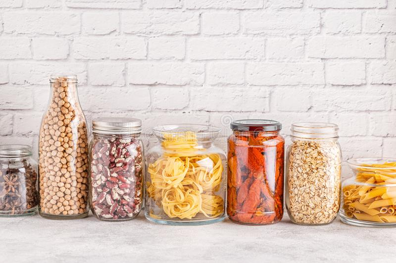 Products in  glassware. Eco friendly food storage. Zero waste concept royalty free stock image