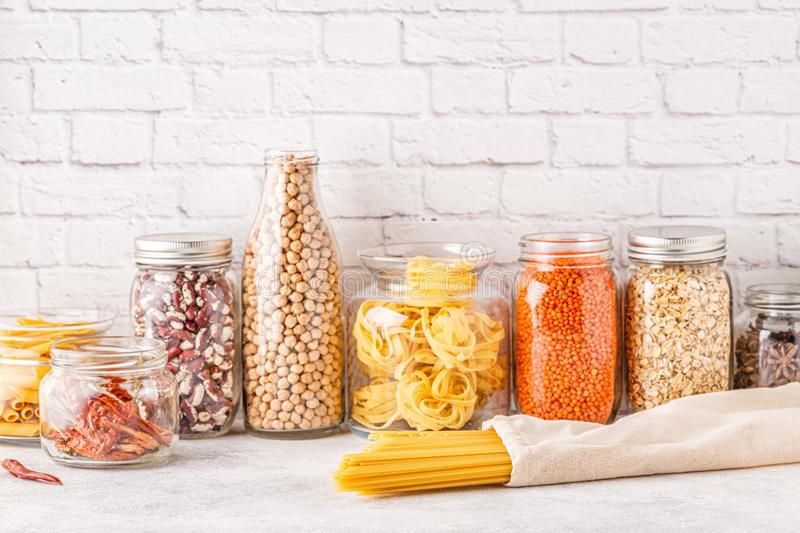 Products in  glassware. Eco friendly food storage. Zero waste concept stock photography