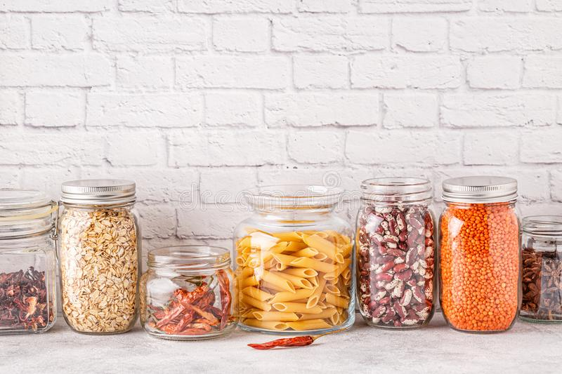 Products in  glassware. Eco friendly food storage. Zero waste concept royalty free stock photography