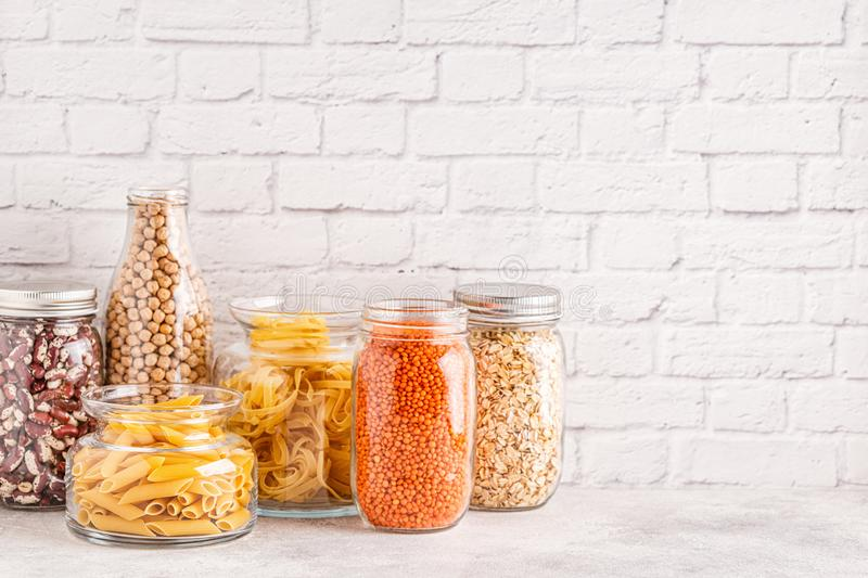 Products in  glassware. Eco friendly food storage. Zero waste concept stock photos