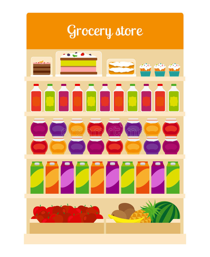 Products on groceries store shelves royalty free illustration