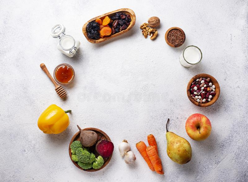 Products for healthy bowel. Food for gut. Products for healthy bowel. Natural food for gut stock photos
