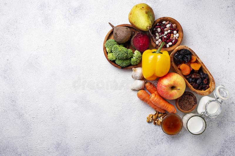 Products for healthy bowel. Food for gut. Products for healthy bowel. Natural food for gut royalty free stock photos