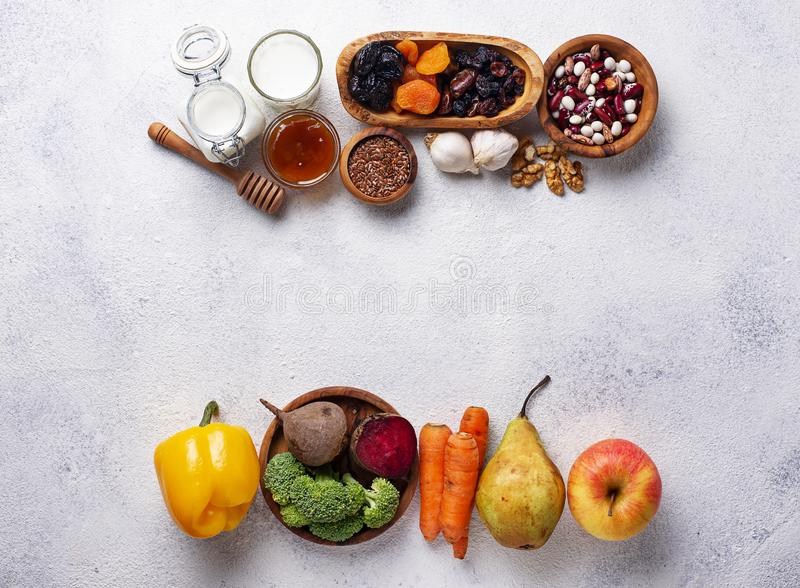 Products for healthy bowel. Food for gut. Products for healthy bowel. Natural food for gut stock images