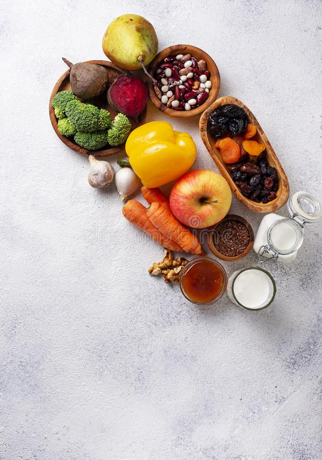 Products for healthy bowel. Food for gut. Products for healthy bowel. Natural food for gut stock image