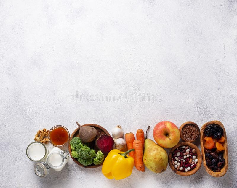 Products for healthy bowel.  Food for gut. Products for healthy bowel. Natural food for gut royalty free stock images
