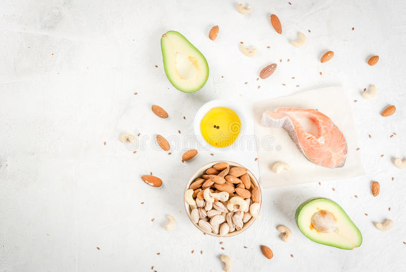 Products with healthy fats stock photography