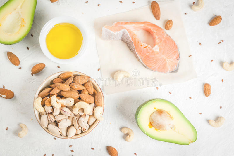 Products with healthy fats royalty free stock image