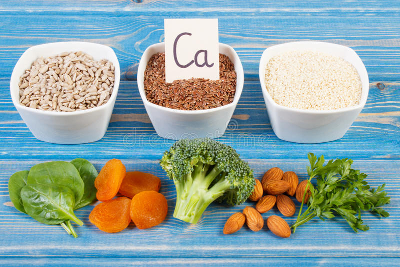 Products and ingredients containing calcium and dietary fiber, healthy nutrition. Ingredients or products containing calcium and dietary fiber, natural sources royalty free stock images