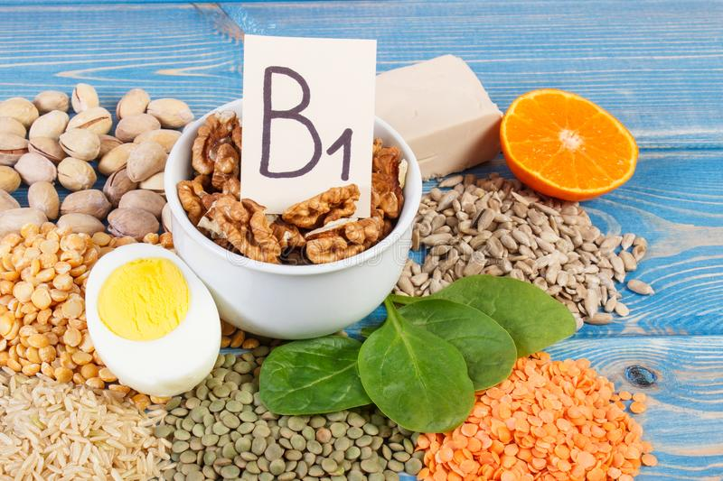 Products and ingredients containing vitamin B1 and dietary fiber, healthy nutrition concept. Ingredients or products containing vitamin B1 and dietary fiber royalty free stock photography