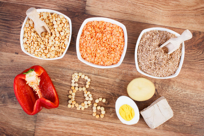 Products and ingredients containing vitamin B6 and dietary fiber, healthy nutrition. Ingredients or products containing vitamin B6 and dietary fiber, natural royalty free stock photos