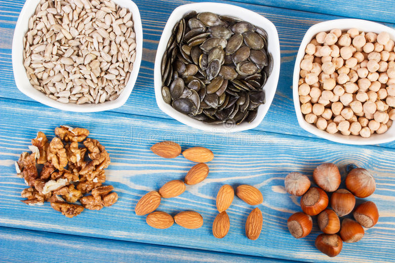 Products and ingredients containing zinc and dietary fiber, healthy nutrition royalty free stock photography