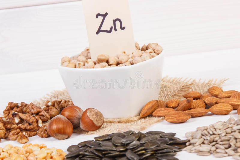 Products and ingredients containing zinc and dietary fiber, healthy nutrition. Inscription Zn, Ingredients or products containing zinc and dietary fiber on white stock photo