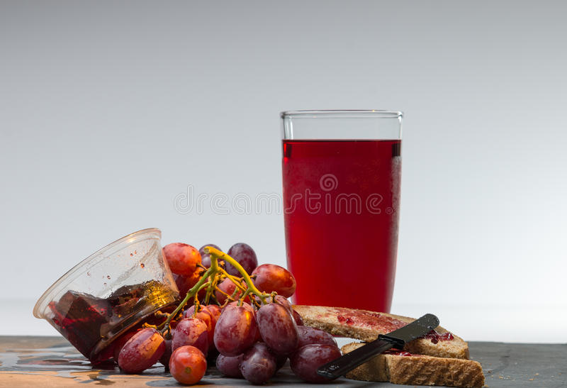 Products made from Grapes. Jam jelly grape juice and grapes on white background royalty free stock photo