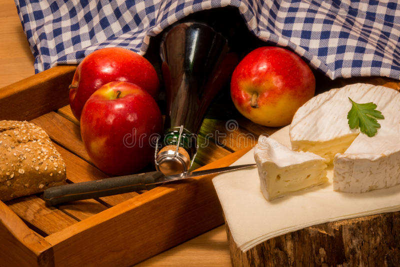 Products from normandy. Typical specialties and delicacies from france apples Camenbert and Cidre cider stock photo