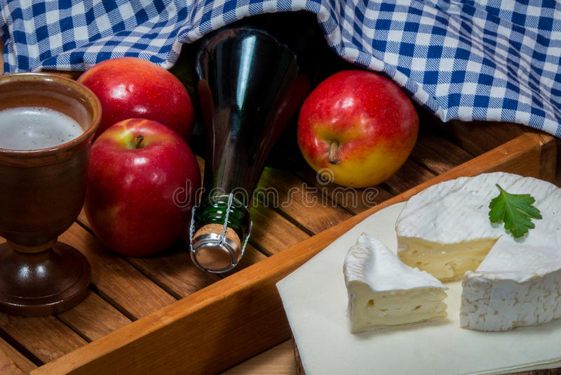 Products from normandy. Typical specialties and delicacies from france apples Camenbert and Cidre cider stock image
