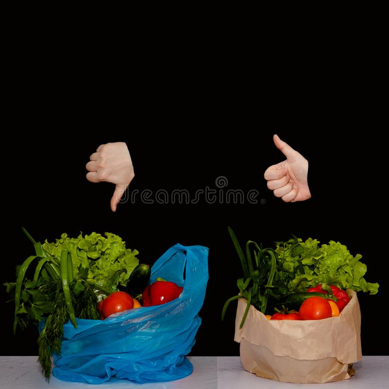 Products in plastic and paper packaging. Thumb up and thumb down royalty free stock photos